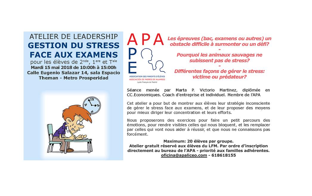 l'APA propose un atelier de leadership gratuit sur la gestion du stress face aux examens