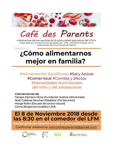 8 NOVEMBRE 8h30 – Conférence: ¿Cómo alimentarnos mejor en familia?