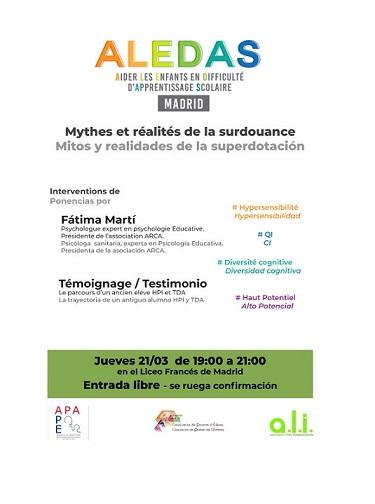 Conférence ALEDAS MADRID: Mythes et réalités de la surdouance