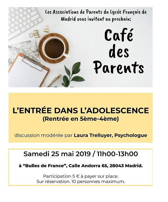 CAFÉ DES PARENTS – L'ENTREE DANS L'ADOLESCENCE